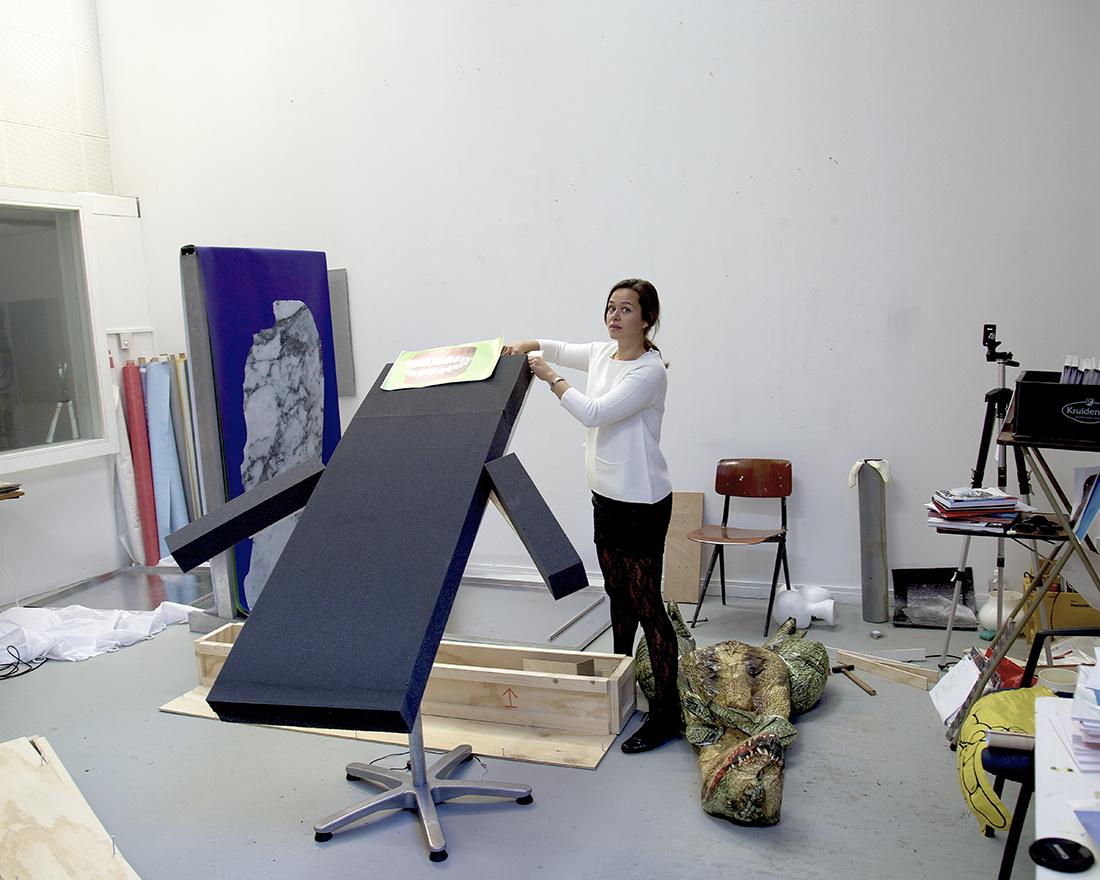 Portrait of Catherine Biocca in her studio. Courtesy ofthe artist.
