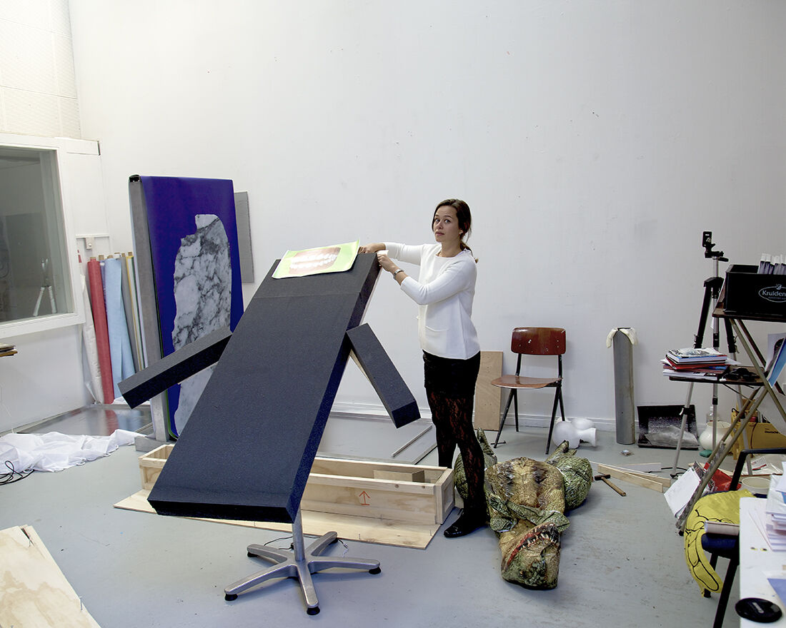 Portrait of Catherine Biocca in her studio. Courtesy of the artist.