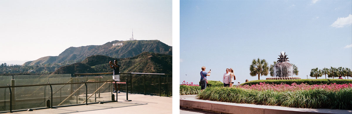 Left: Ambre Kelly and Andrew Gori, Man—Hollywood, Los Angeles, 2014. Right: Ambre Kelly and Andrew Gori, Strangers—Battery, Charleston, 2015. Images courtesy of the artists.