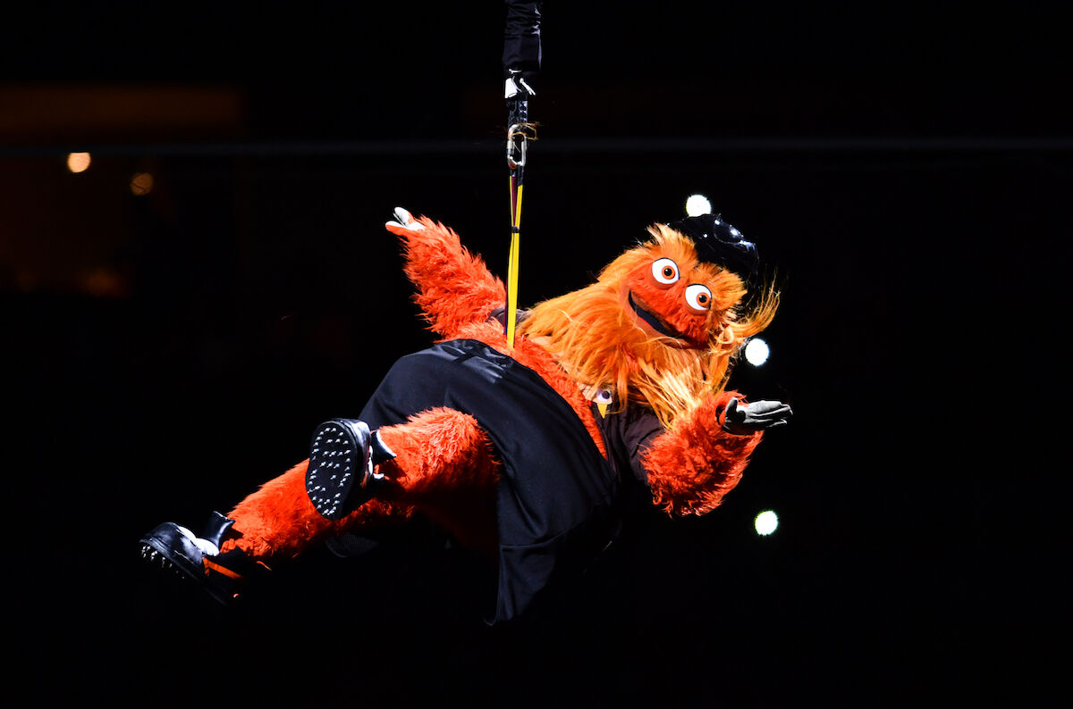 Gritty at a Philadelphia Flyers game on November 23, 2018. Photo by Kyle Ross/Icon Sportswire via Getty Images.