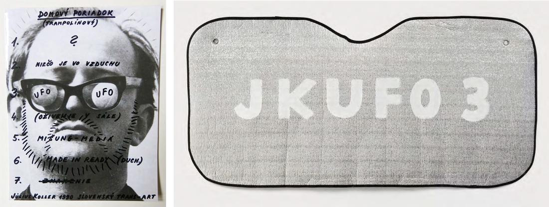Július Koller, SLOVENSKÝ TRANS-ART, 1990, and Július Koller, UFO, 2003, at Galerie Martin Janda and neugerriemschneider's booth at Art Berlin Contemporary, 2015. Courtesy the galleries.