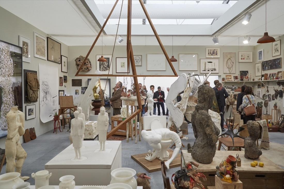 Installation view of Hauser & Wirth's booth at Frieze London, 2016. Photo by Benjamin Westoby for Artsy.