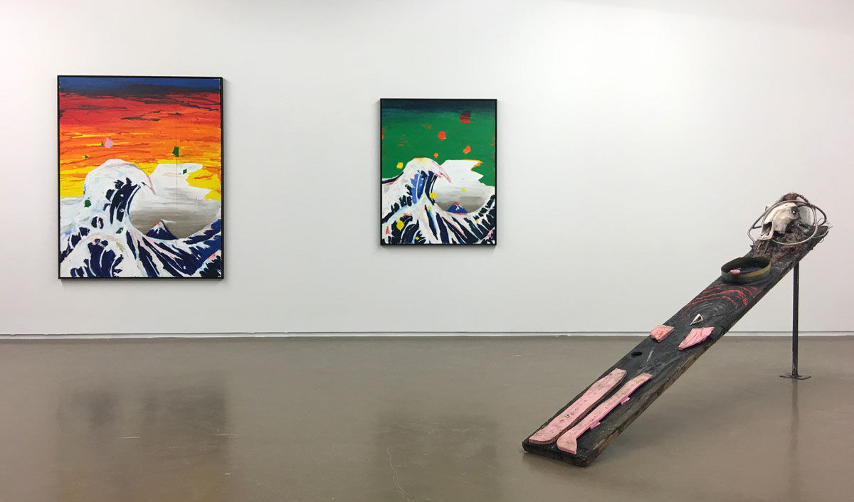 Installation view of works by Harold Ancart and Huma Bhabha at CLEARING's booth at Independent Brussels, 2016. Photo courtesy of CLEARING.