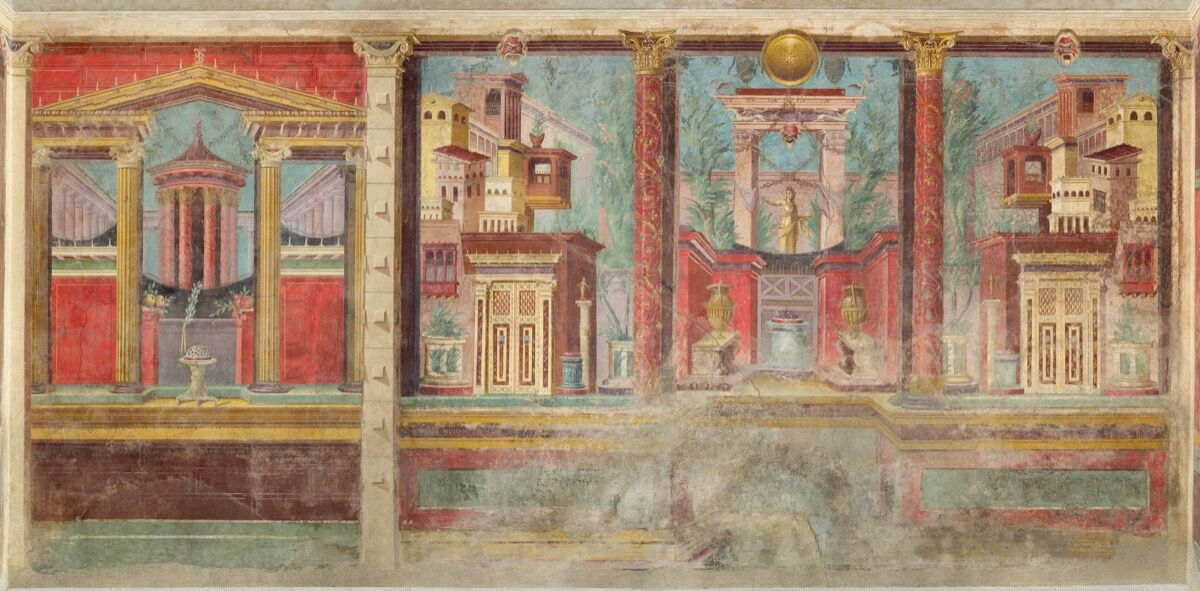 Detail of the cubiculum (bedroom) from the Villa of P. Fannius Synistor at Boscoreale, ca. 50–40 B.C.E. Courtesy of the Metropolitan Museum of Art, New York.