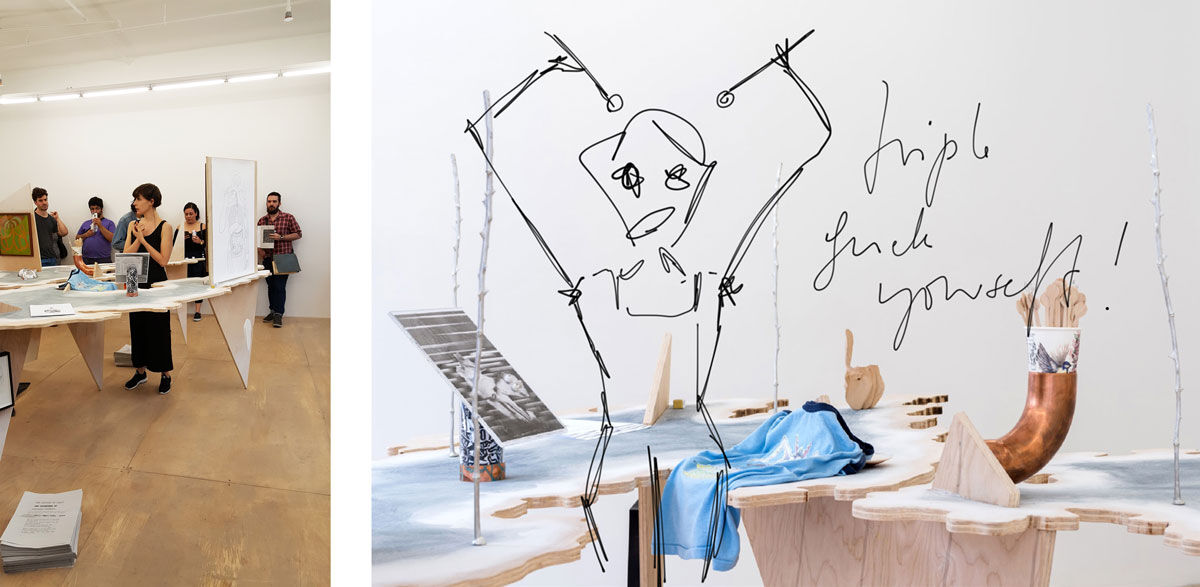 Left: Photo of Sophie Jung's performance courtesy of Hester; Right: Image by Fran Parente. Drawing by Sophie Jung. Courtesy of the artist.
