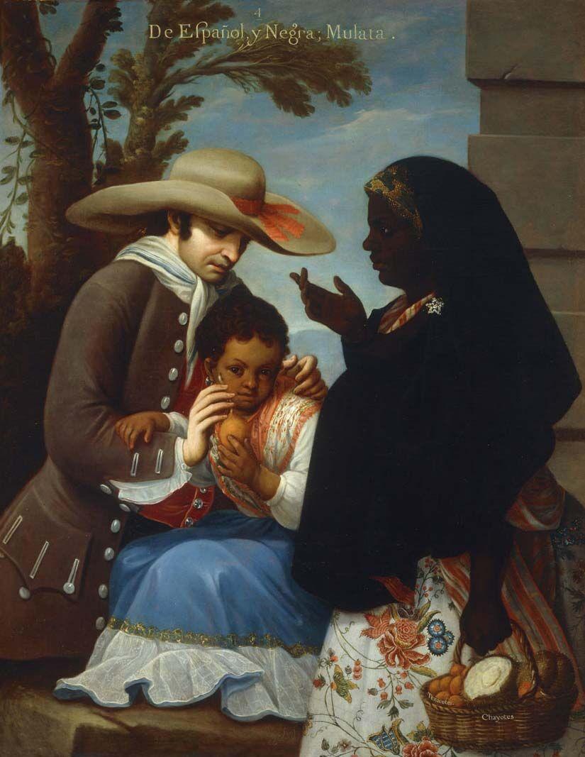 Miguel Cabrera, De español y negra, mulata (From male Spaniard and Black Female, Mulata), c. 1763. Photo via Wikimedia Commons.