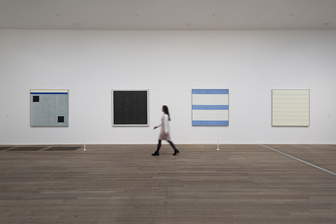 """Installation view of """"Agnes Martin"""" courtesy of Tate Modern."""