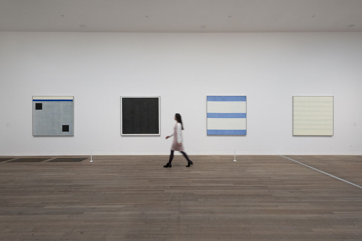 "Installation view of ""Agnes Martin"" courtesy of Tate Modern."