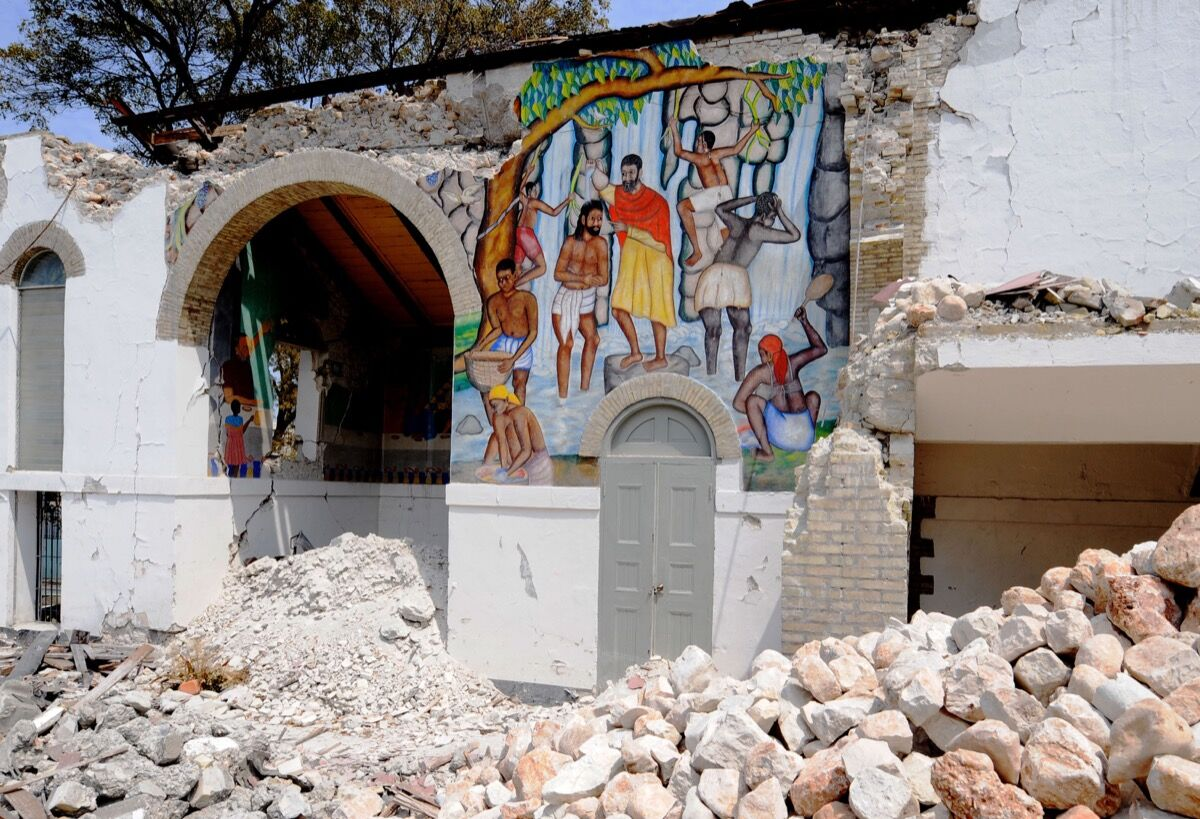 Interior view of the destroyed Episcopal Cathedral Sainte-Trinite in Port-au-Prince, Haiti. Photo: THONY BELIZAIRE/AFP/Getty Images