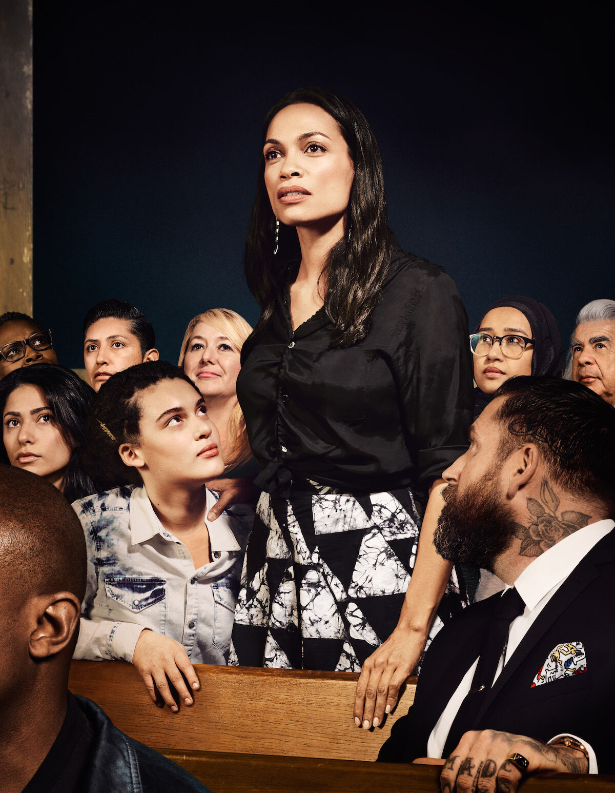 Interpretation of Norman Rockwell's Freedom of Speech by For Freedoms, featuring actor and activist Rosario Dawson (standing). Courtesy For Freedoms.