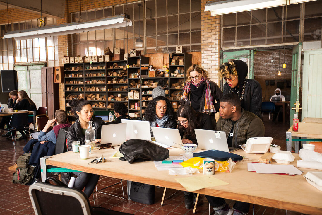 A group of fellows prepare their presentation at Ideas City Detroit. Photo by Marta Xochilt Perez for Artsy.