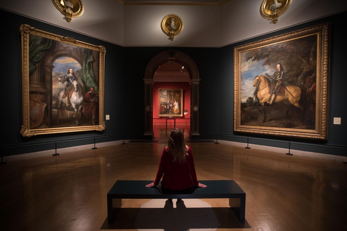 "Installation view of ""Charles I: King and Collector exhibition at the Royal Academy of Art,"" London (27 January – 15 April 2018) Mobilier National, Paris. Photo by David Parry. Exhibition organized in partnership with Royal Collection Trust."