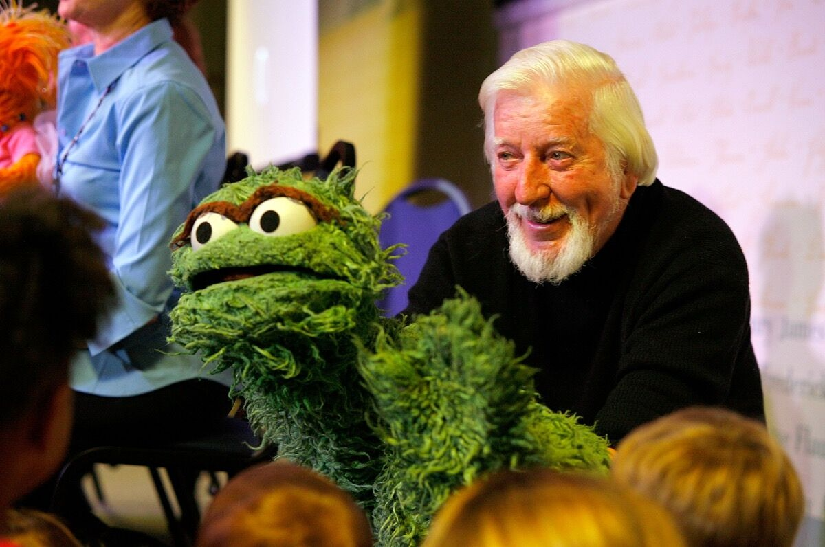 Caroll Spinney at a promotion for Sesame Street: A Celebration of 40 Years of Life On The Street. Photo by Andy Kropa/Getty Images.