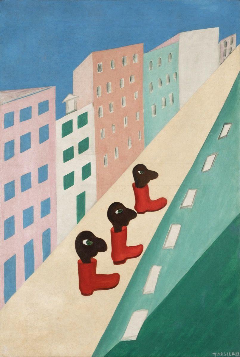Tarsila do Amaral, City (The Street), 1929. Collection of Bolsa de Arte. © Tarsila do Amaral Licensing.