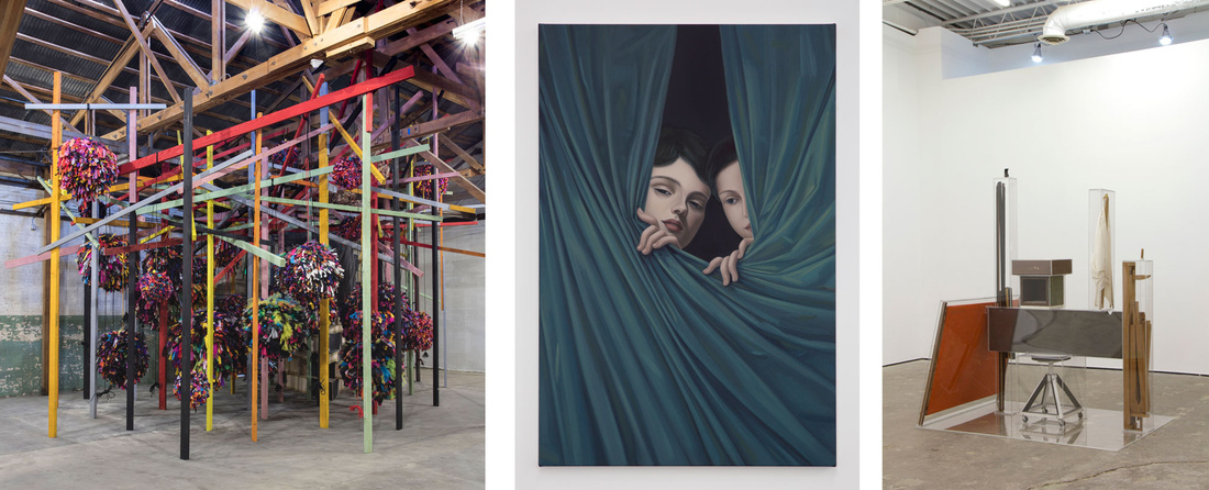 Left to right: Installation view of Phyllida Barlow, GIG, 2014. Photo courtesy of Hauser Wirth & Schimmel; Jesse Mockrin, School of Love, 2015. Photo by Nik Massey. Courtesy of the artist and Night Gallery; Lukas Geronimas, Untitled Work, 2015. Photo courtesy of the Landing.