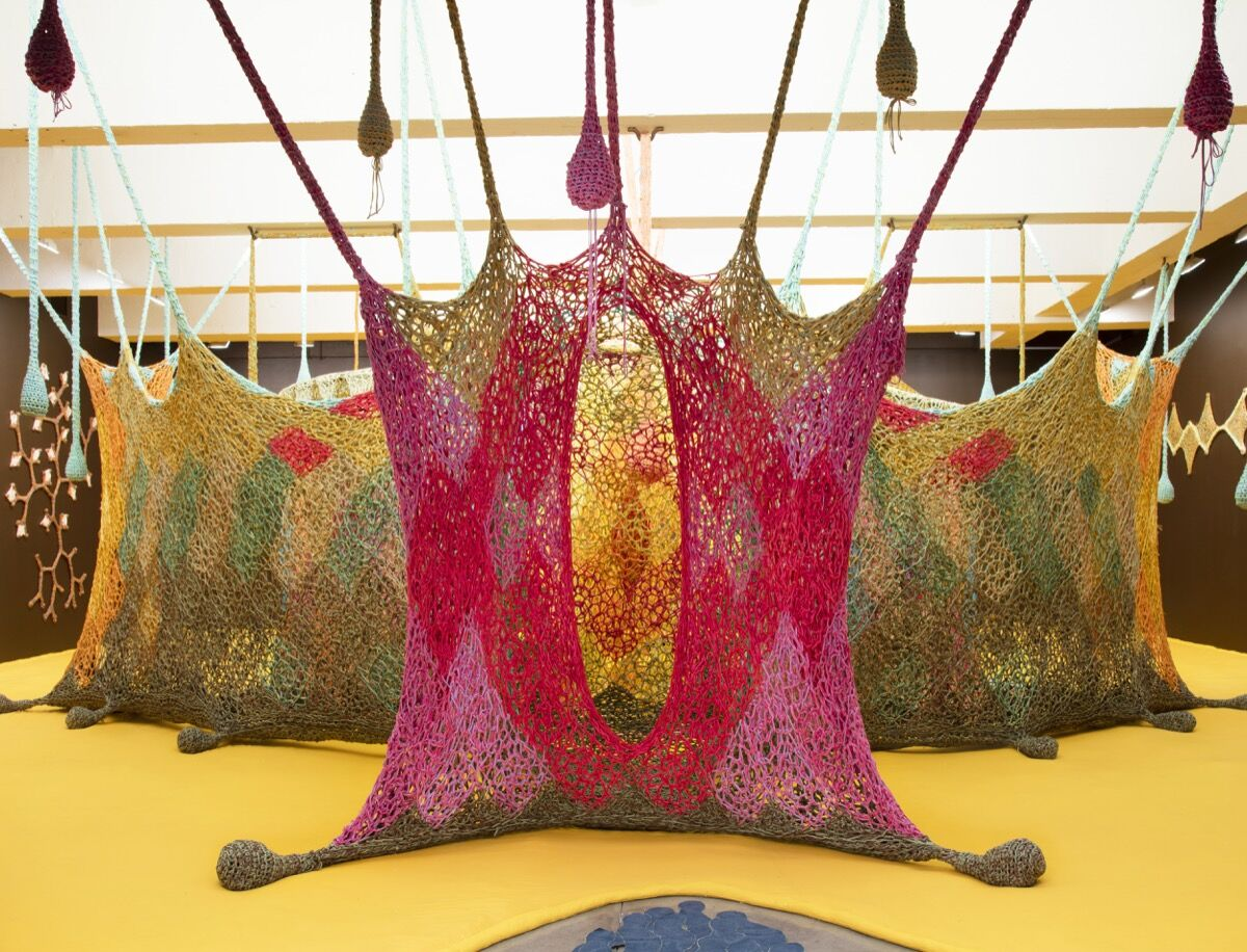 Installation view of Ernesto Neto's The Serpent's Energy Ga e Birth to Humanity. Image courtesy of Tanya Bonakdar Gallery.