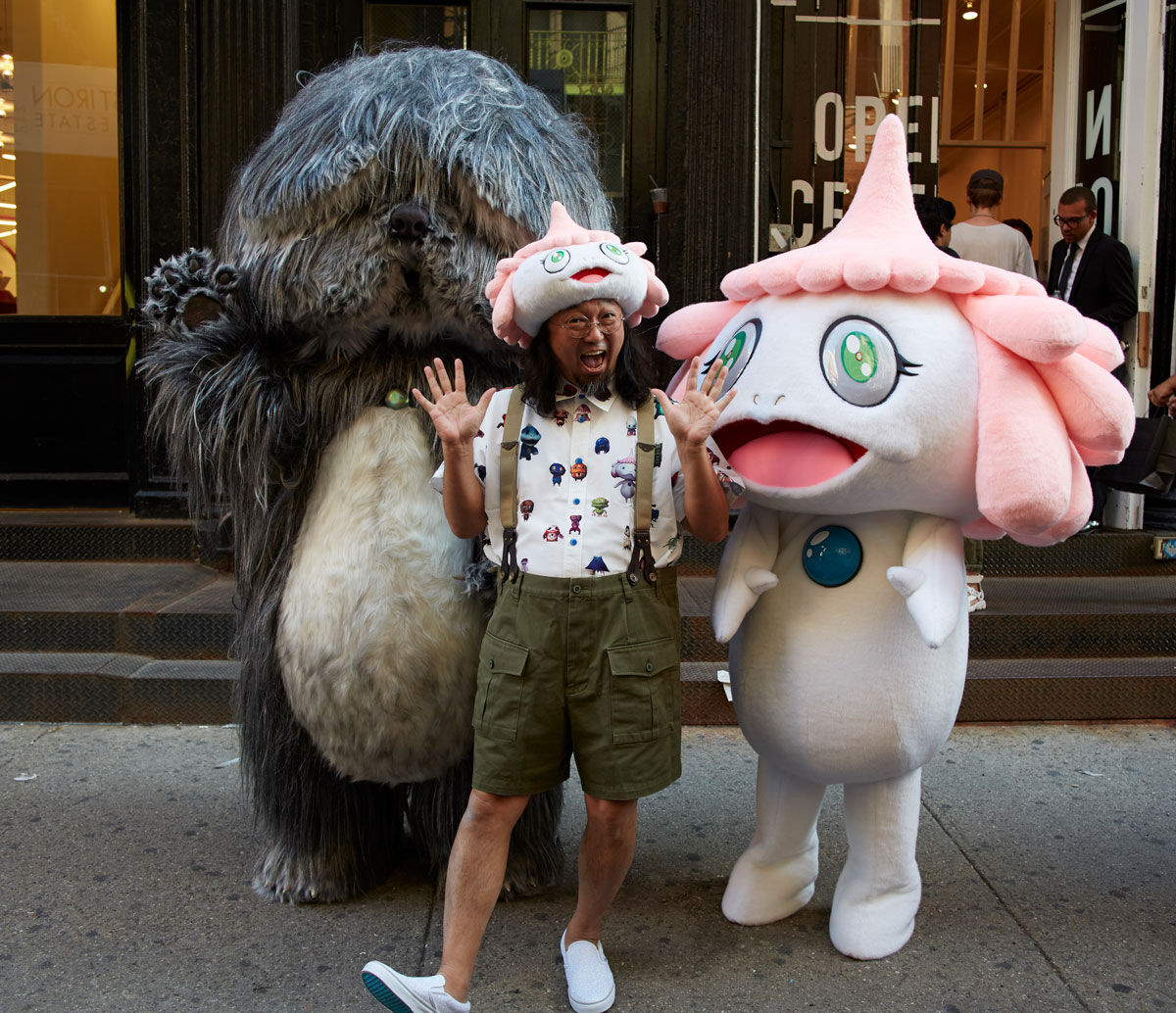 Takashi Murakami with charcters from his film Jellyfish Eyes at the IFC Center, New York, 2015. Courtesy of Janus Films and Gagosian.