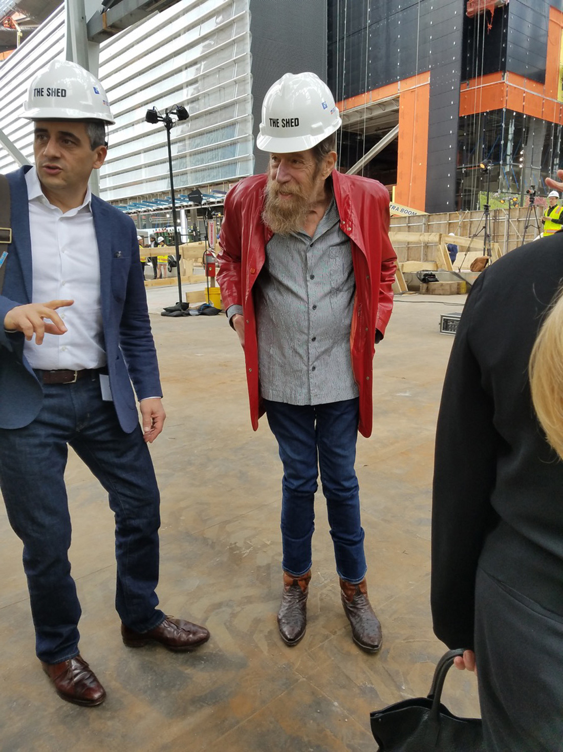 Alex Poots and Lawrence Weiner at The Shed preview.