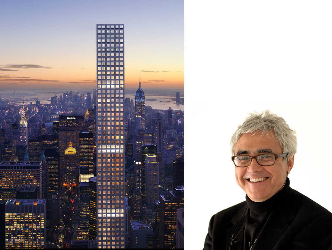 Rafael Viñoly Architects, 432 Park Avenue. Image by DBOX for CIM Group/ Macklowe Properties. Portrait of Rafael Viñoly. Courtesy of Rafael Viñoly Architects.
