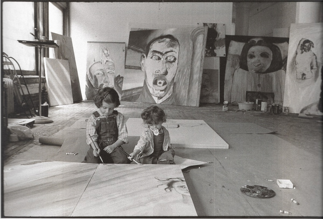 Chiara Clemente with her younger sister Nina in their father's studio. Courtesy of Chiara Clemente.