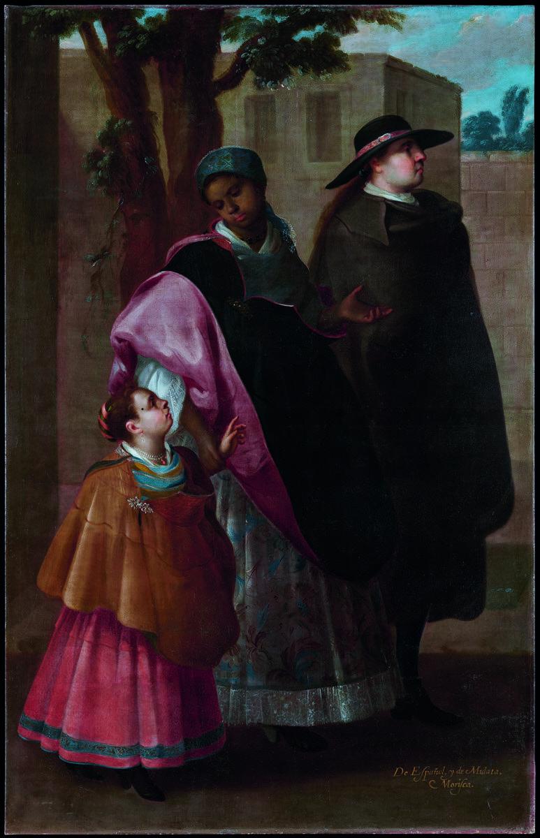 Attributed to José de Ibarra, From Spaniard and Mulatta, Morisca (De español y mulata, morisca), c. 1730. © Museum Associates/LACMA/Formento Cultural Banamex, A.C. Photo by Joaquín Cortés and Rosa Fernández. Courtesy of the Los Angeles County Museum of Art.