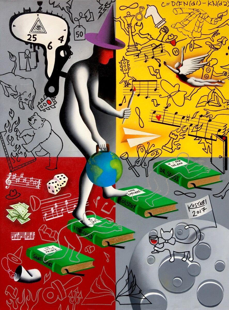 Mark Kostabi, ASCENDING VOLUMES, 2017. Courtesy of the artist.