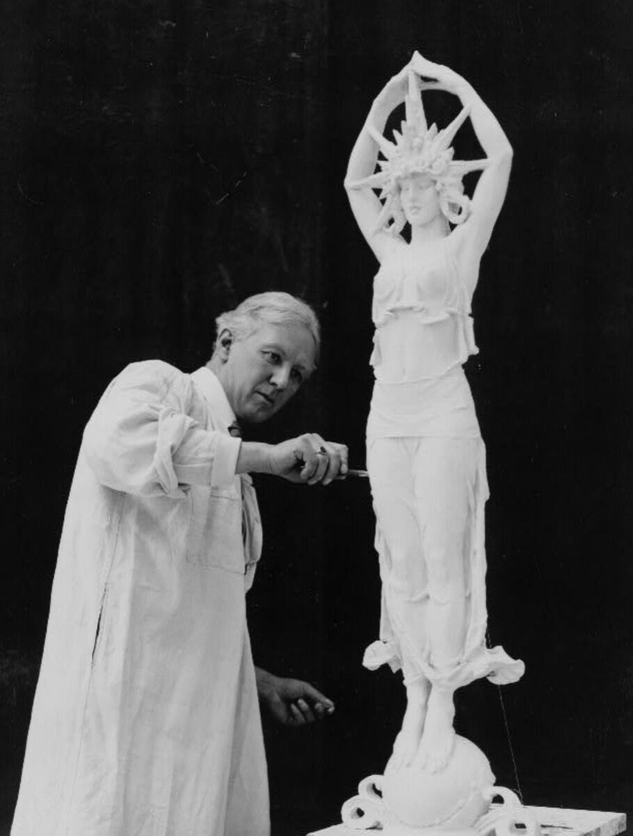Alexander Stirling Calder working on a sculpture for the Panama-Pacific International Exposition in San Francisco in 1913. Courtesy of the Library of Congress.