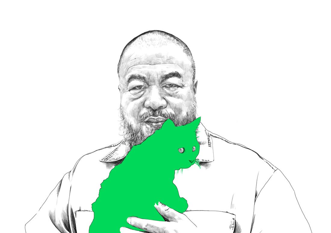 Illustration of Ai Weiwei by Rebecca Strickson for Artsy, based on a photograph by Matthew Niederhauser.