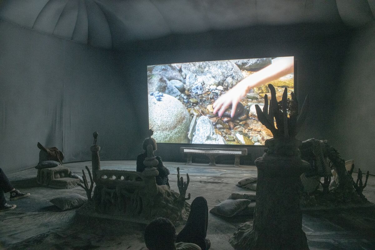 "Installation view of Laure Prouvost, ""Deep See Blue Surrounding You/Vois Ce Bleu Profond Te Fondre,"" for the France Pavilion at the 58th Venice Biennale, 2019. Courtesy of Institut français."