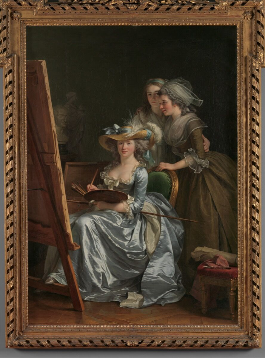 Adélaïde Labille-Guiard, Self-Portrait with Two Pupils, Marie Gabrielle Capet and Marie Marguerite Carreaux de Rosemond, 1785. Courtesy of the Met.