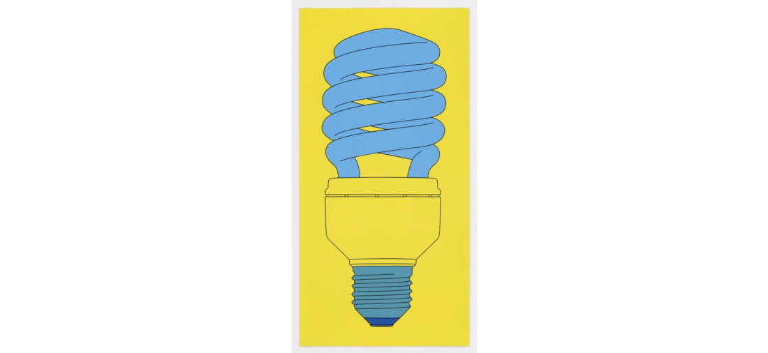 Michael Craig-Martin; Bulb From: Fundamentals, 2016. Screenprint, paper and image 106.0 x 53.0 cm, edition of 30. Courtesy artist and Alan Cristea Gallery, London.