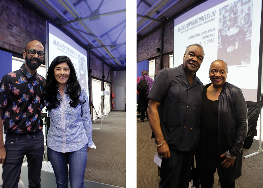 """Left: Brendan Fernandes and Liza Essers. Right: David Driskell and Deb Willis. Photos by Terrence Jennings, courtesy of""""Black Portraiture[s] III""""."""