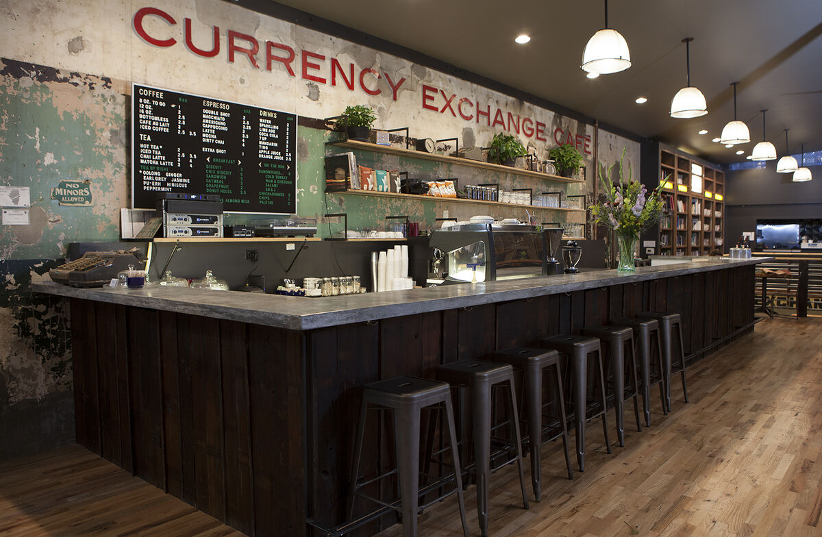 Interior of Currency Exchange Café. Photo by Sarah Pooley, 2014. Courtesy of Currency Exchange Cafe.