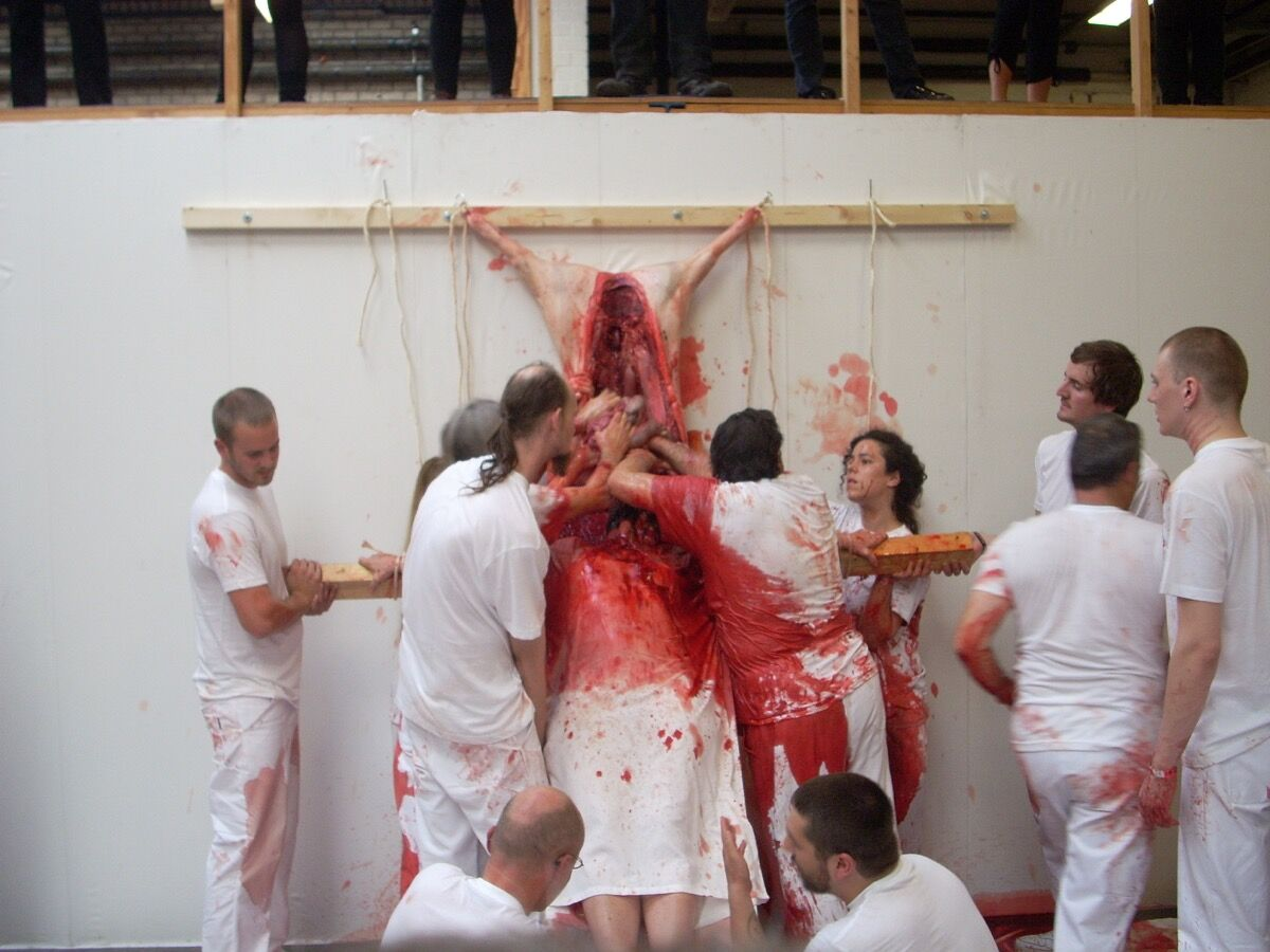 Hermann Nitsch performance in Tilburg in 2009. Photo by Tanja Baudoin, via Flickr.