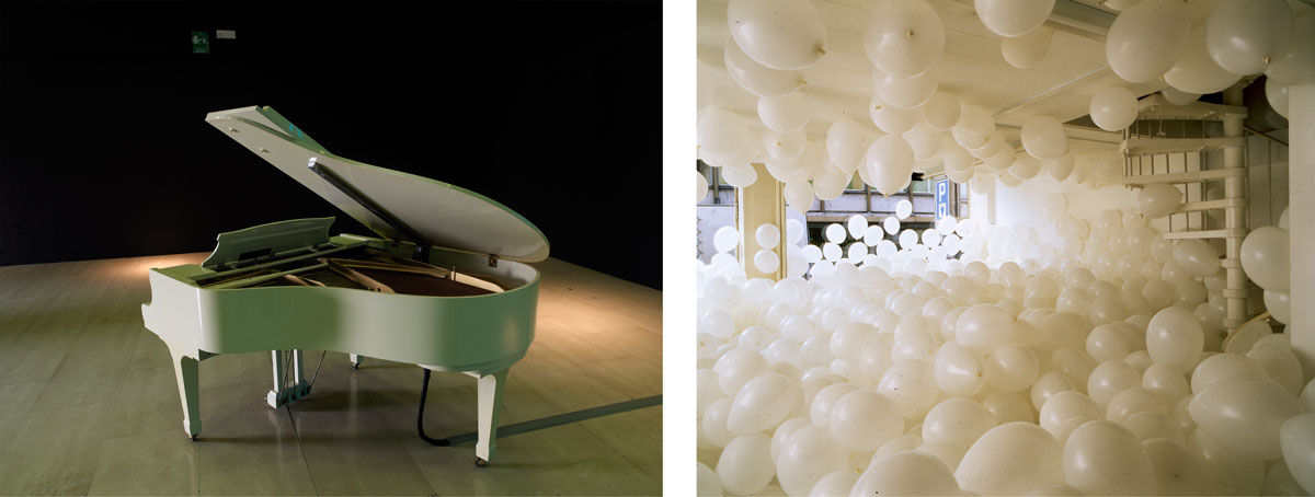Left: Martin Creed, Work No. 569, Piano, 2006. © Martin Creed. Right: Martin Creed, Work No. 200, Half the air in a given space, 1998. © Martin Creed. Images courtesy of the Park Avenue Armory.