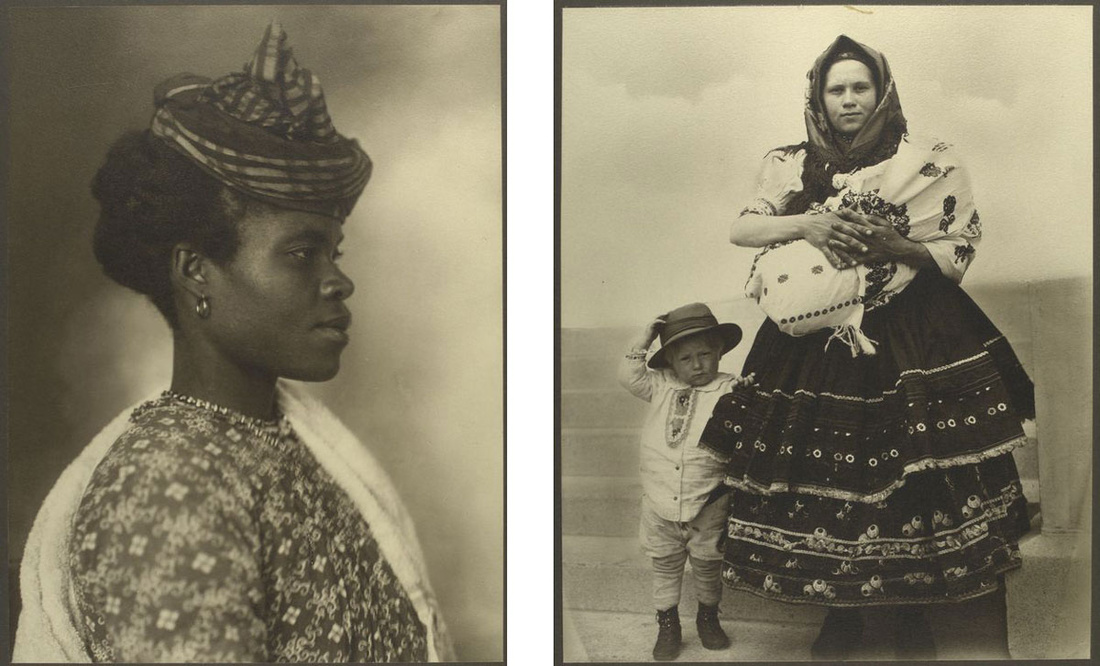 Left:Guadeloupean woman. Right:Slovak woman and children. Photographs by Augustus Sherman, via the NYPL Digital Collections.