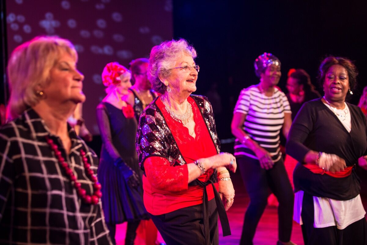 "Aesop's ""Dance to Health"" participants and members of East London Dance's older people's dance group, Leap of Faith, at the Southbank Centre, London. Photo by Helen Murray. Courtesy of Aesop."