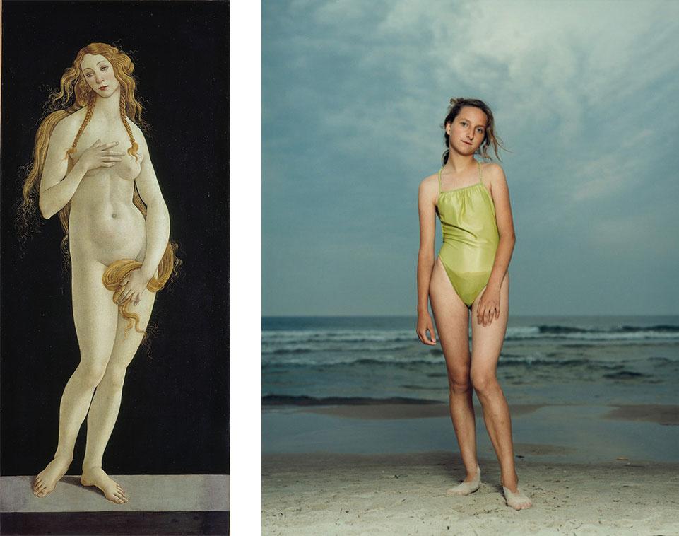 Left: Botticelli,Venus, 1490s. Image courtesy of the Victoria & Albert Museum, London. Photo: Volker-H. Schneider; Right:Rineke Dijkstra, Kolobrzeg, Poland, July 26, 1992. Image courtesy of the artist and Marian Goodman Gallery.