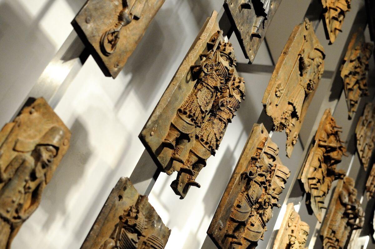 Benin bronzes on display at the British Museum. Photo by Rtype909, via Wikimedia Commons.