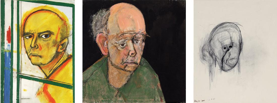 Left to right:William Utermohlen, Self Portrait (with Easel), 1996;William Utermohlen, Self Portrait (Green), 1997;William Utermohlen, Head I, 2000. Imagescourtesy ofChris Boicos Fine Arts, Paris.