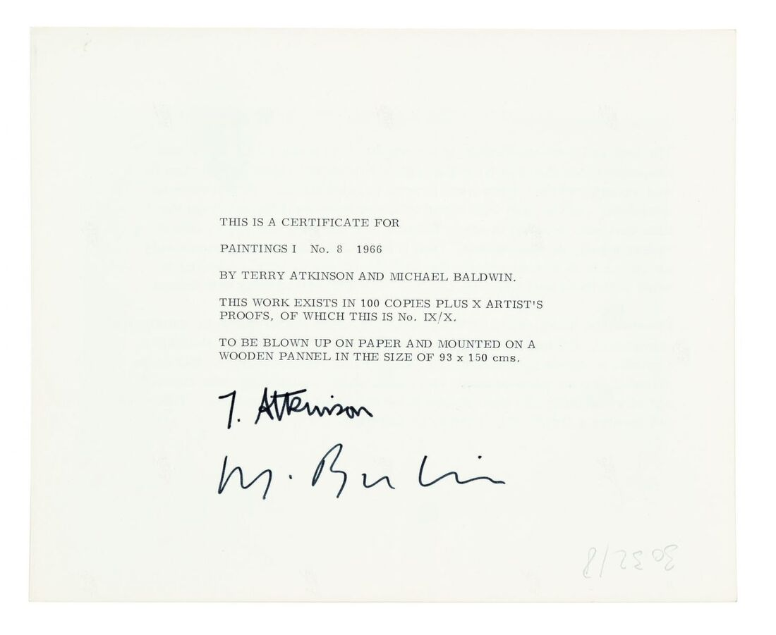 ART & LANGUAGE, Painting 1, No. 8, 1966, Verso of certificate, Silver Gelatin Print, Image courtesy of Art & Language