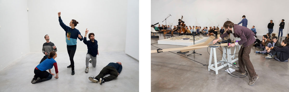 Left: Alexandra Pirici & Manuel Pelmus, Public Collection, 2014. Copyright Alexandra Pirici & Manuel Pelmus. Photo: Alexandra Pirici, 2016, courtesy of Tate Modern; Right: Installation view of Tarek Atoui, The Reverse Sessions, 2014. Courtesy of the artist and kurimanzutto, Mexico City 2014. Photo: Omar Luis Olguín, 2014, courtesy of Tate Modern.