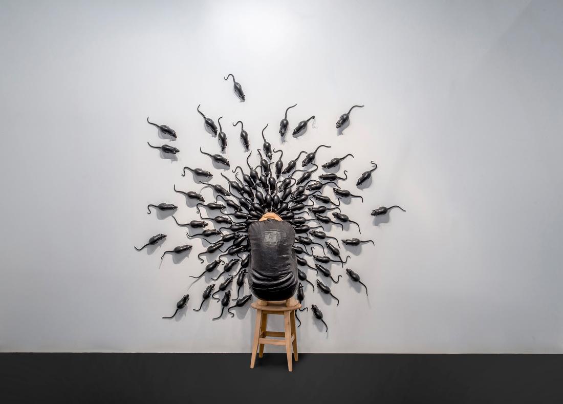 Installation view of work by YasamŞaşmazerat BERLINARTPROJECTS's booth, Contemporary Instanbul, 2015. Photo courtesy of BERLINARTPROJECTS.