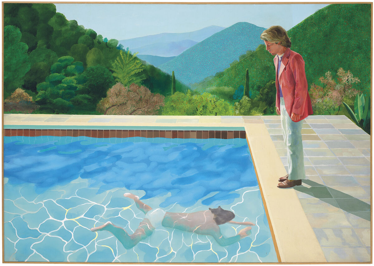 David Hockney, Portrait of an Artist (Pool with Two Figures), 1972, acrylic on canvas, 84 x 119 3/4 in., est. in the region of $80 million. Image courtesy Christie's Images Ltd. 2018.