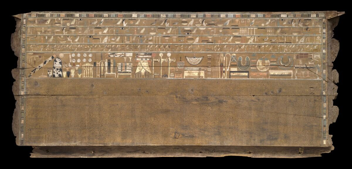 Back side panel of the outer coffin of Djehutynakht, 2010–1961 B.C. Harvard University—Boston Museum of Fine Arts Expedition. © Museum of Fine Arts, Boston.
