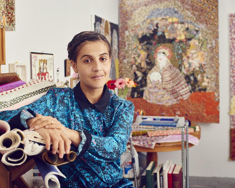 Maria Berrio in her studio. Image courtesy of Praxis Gallery, New York.