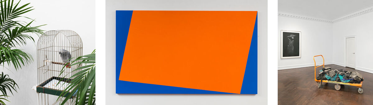 Left to right: Installation view of Marcel Broodthaers at Paul Kasmin Gallery. Photo courtesy of Paul Kasmin Gallery; Carmen Herrera, Costa del Sol, 2015.  © Carmen Herrera, courtesy of Lisson Gallery; Installation view of David Hammons at Mnuchin Gallery. Photo courtesy of Mnuchin Gallery.