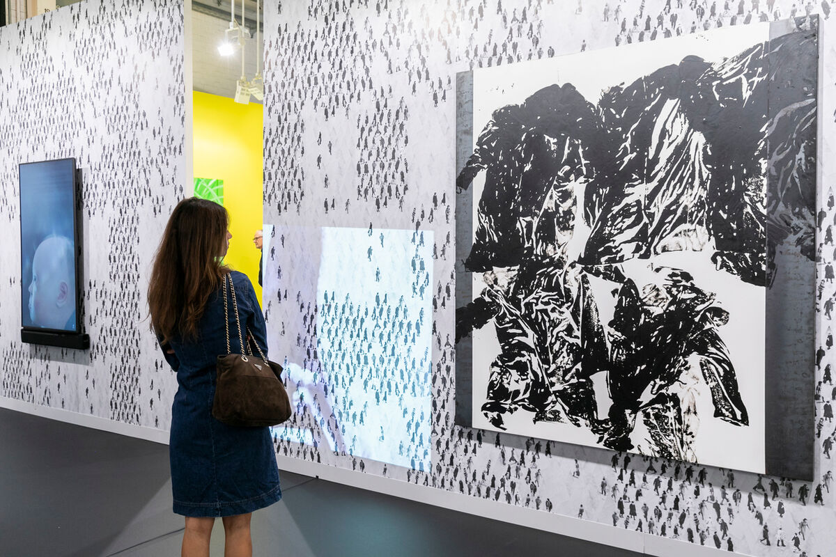 Installation view of Gavin Brown's enterprise's booth at Art Basel in Basel, 2018. Courtesy of Art Basel.