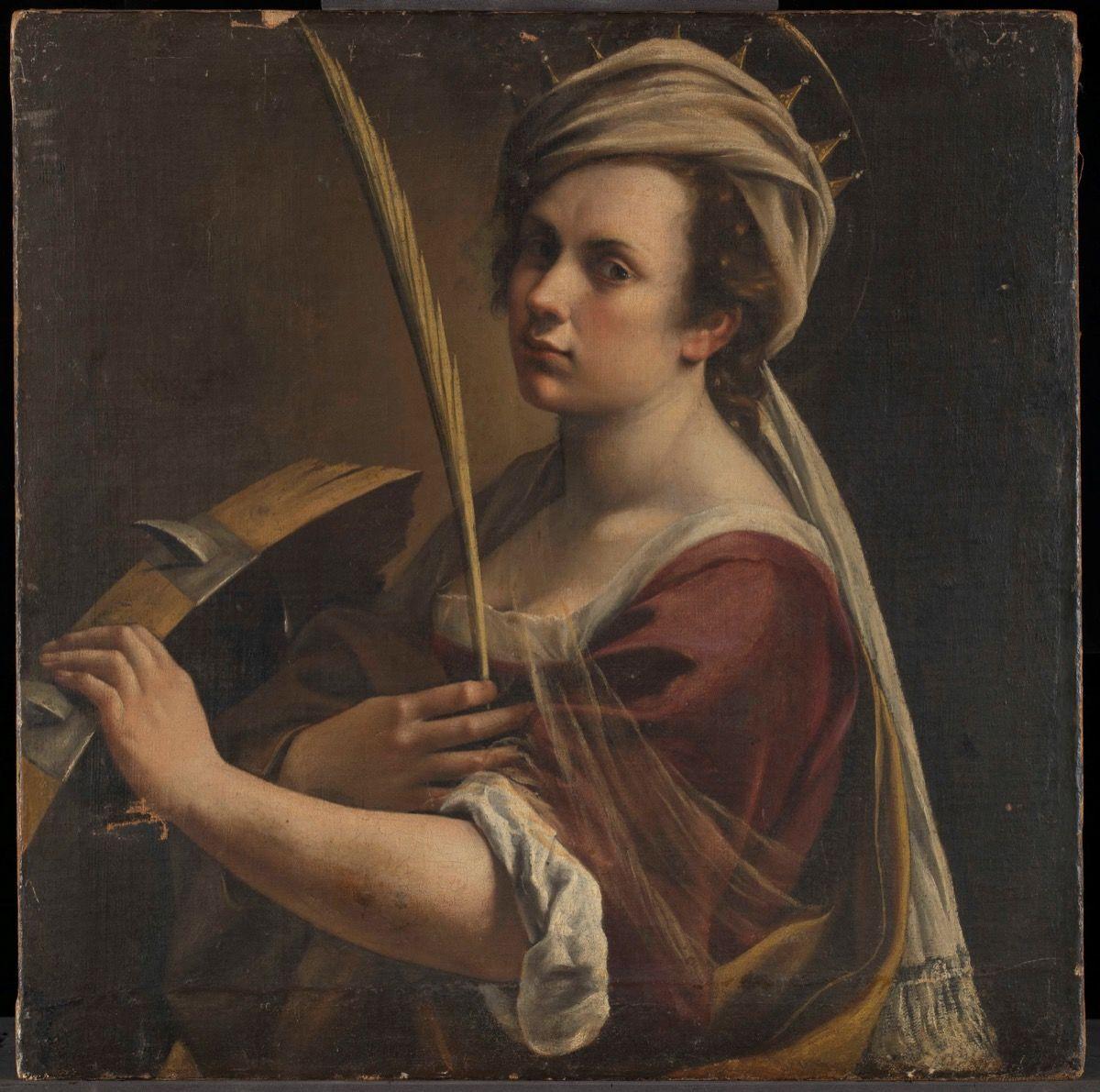 Artemisia Gentileschi, Self Portrait as Saint Catherine of Alexandria, about 1615–17. © The National Gallery, London. Courtesy of The National Gallery, London.