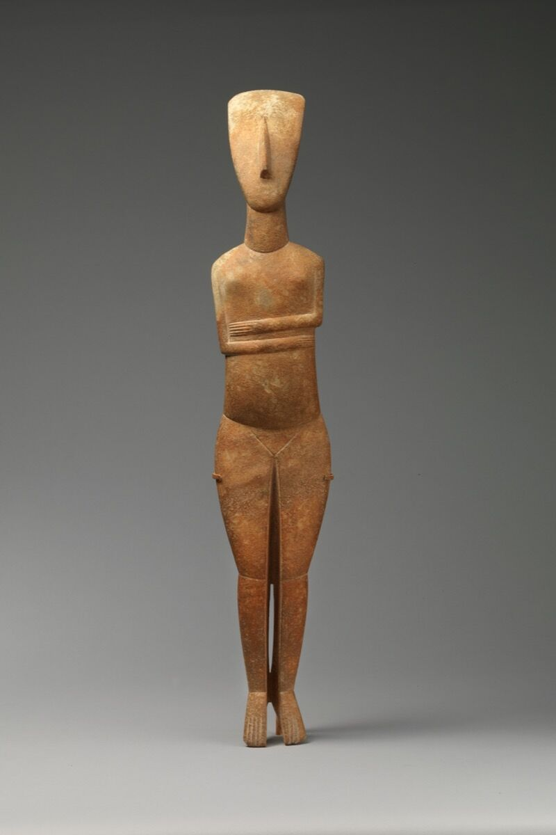 Attributed to the Bastis Master, Marble female figure, Early Cycladic II, 2600–2400 B.C.E. Courtesy of the Metropolitan Museum of Art.
